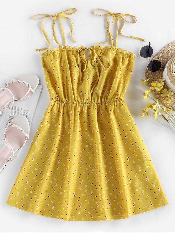 womens ZAFUL Tie Ditsy Print Sundress - YELLOW M