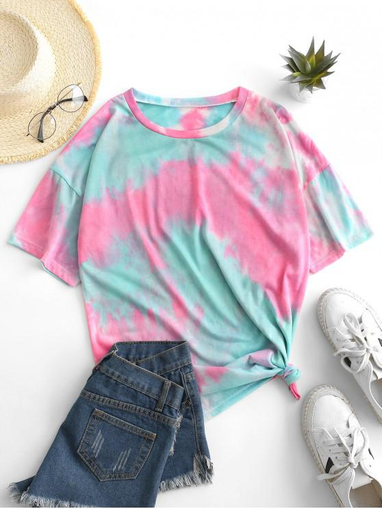 chic Tie Dye Knotted Drop Shoulder Tee - BLUE L