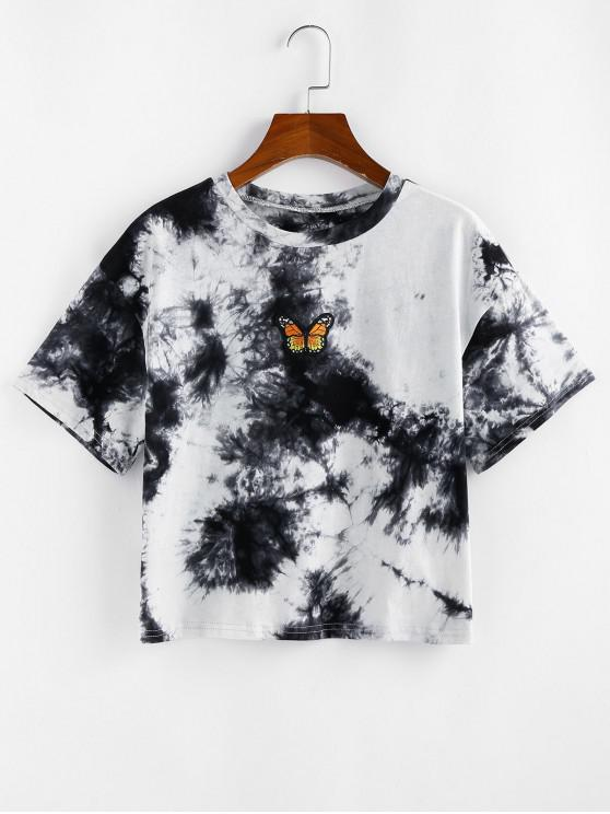 affordable ZAFUL Tie Dye Butterfly Embroidered T Shirt - BLACK M