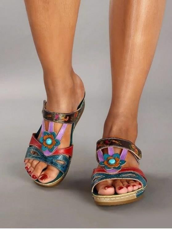 Colorblock Floral Cut Out Wedge Heel Slides - الأزرق هوستا الاتحاد الأوروبي 38