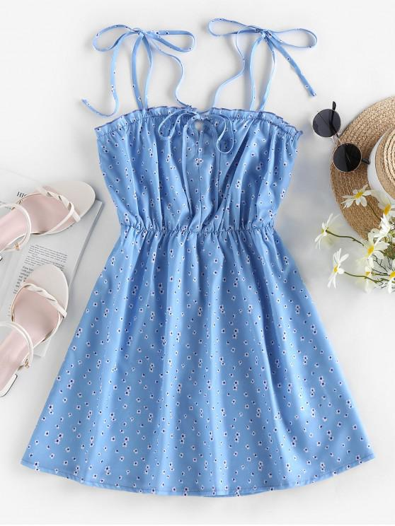 best ZAFUL Tie Ditsy Print Sundress - LIGHT BLUE S
