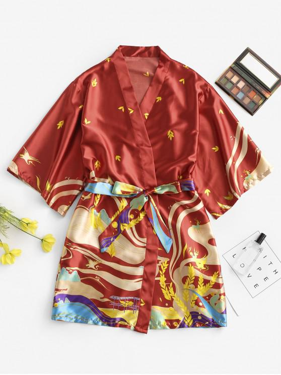 shops Belted Satin Leaves Printed Wrap Robe - RED M