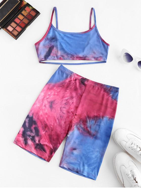 Top e Pantaloncini di Tie-Dye - Blu M
