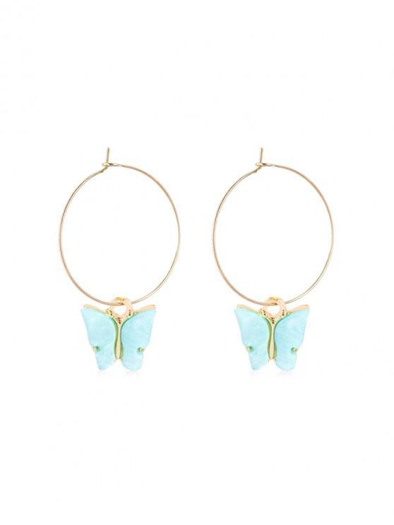 latest Acrylic Butterfly Pendant Hoop Earrings - SKY BLUE 5*3.5CM