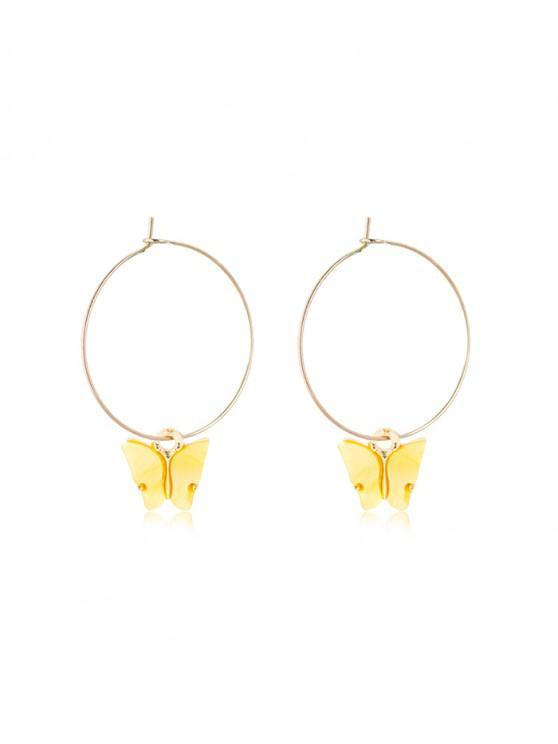 trendy Acrylic Butterfly Pendant Hoop Earrings - YELLOW 5*3.5CM