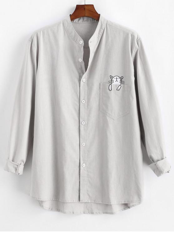 Cartoon Cat Print Button Up Pocket Shirt - رمادي فاتح 2XL