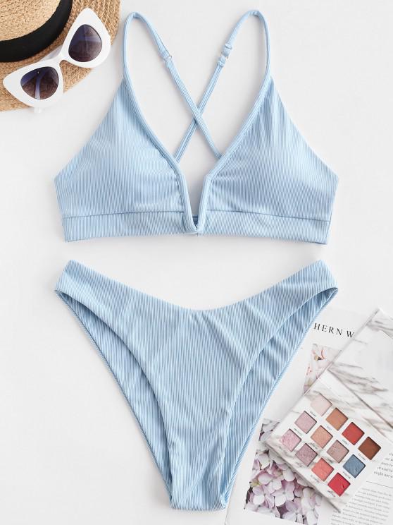 hot ZAFUL Ribbed V-wired High Cut Cross Bikini Swimwear - LIGHT BLUE S