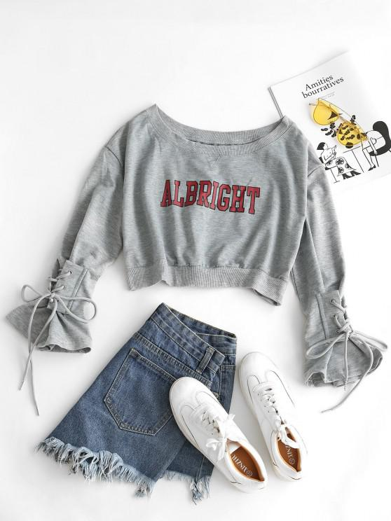 Letter Graphic Bell Sleeve Lace Up Crop Sweatshirt - رمادي فاتح مقاس واحد