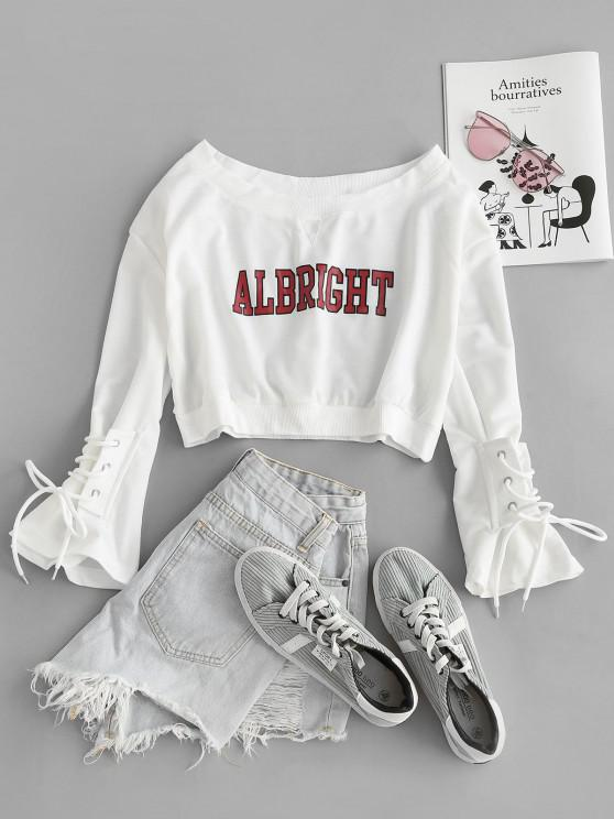 shop Letter Graphic Bell Sleeve Lace Up Crop Sweatshirt - WHITE ONE SIZE