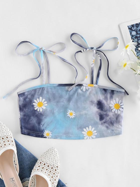 shop ZAFUL Daisy Print Tie Dye Crop Cami Top - LIGHT BLUE L