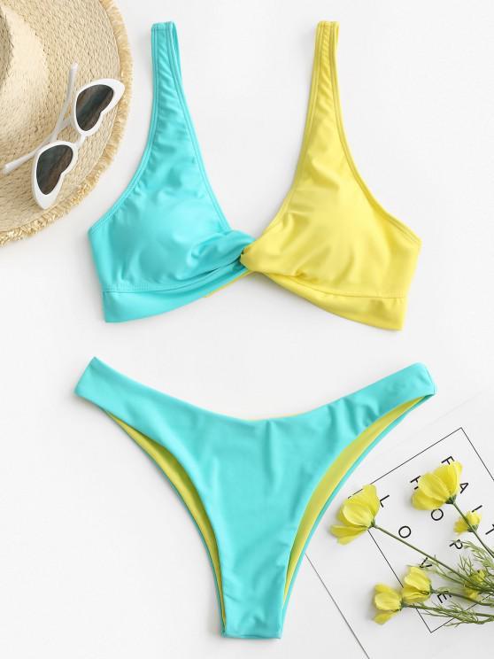 new ZAFUL Colorblock Twisted Plunging High Leg Bikini Swimsuit - LIGHT BLUE M