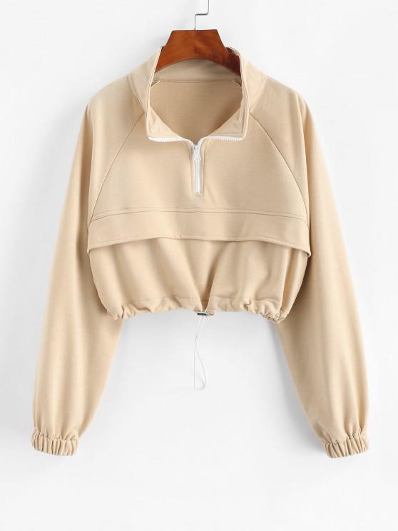 online Zip Drawstring Hem Raglan Sleeve Cropped Sweatshirt - LIGHT COFFEE S