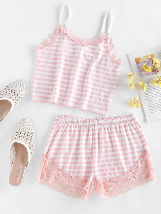 ZAFUL Striped Lace Insert Pajama Shorts Set - وردي فاتح M