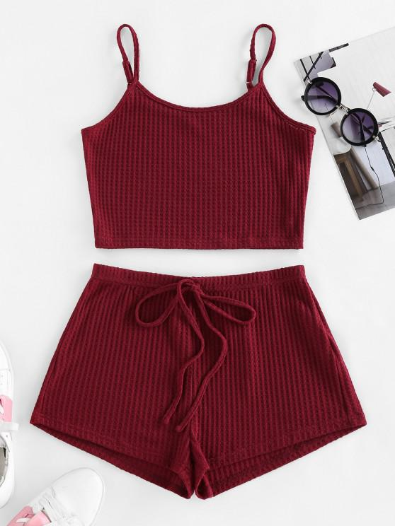 chic ZAFUL Lounge Textured Cami Bowknot Shorts Set - RED WINE L