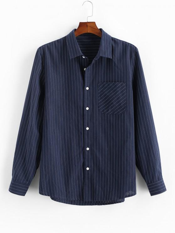 buy Pinstripe Print Button Up Pocket Shirt - DEEP BLUE L
