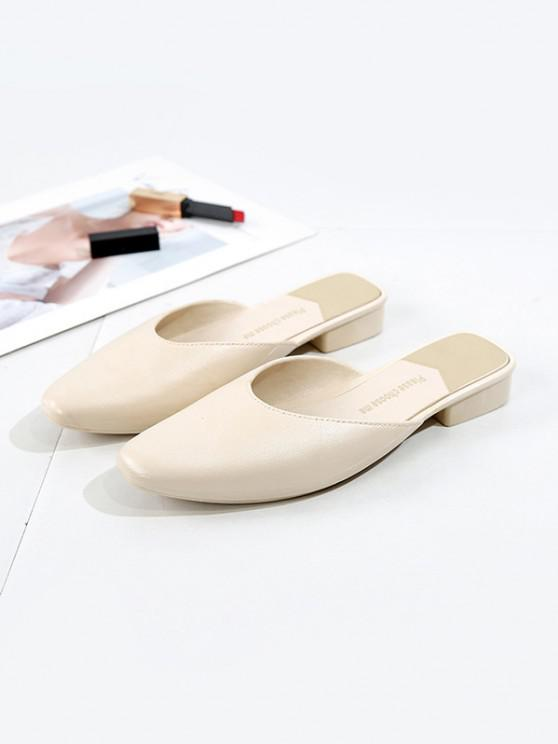 women Square Collar Leather Flat Half Shoes - WHITE EU 40
