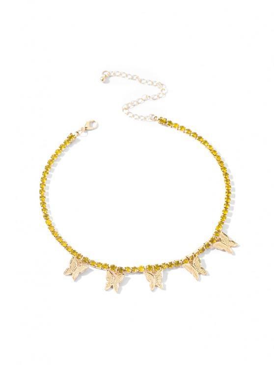 fashion Butterfly Rhinestone Charm Necklace - YELLOW 30CM+10CM