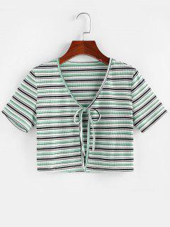 ZAFUL Striped Ribbed Tie Front Crop T-shirt - Light Green M
