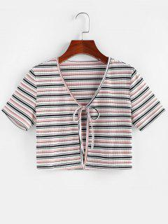 ZAFUL Striped Ribbed Tie Front Crop T-shirt - Light Pink S
