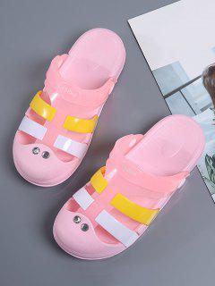 Colorblock Jelly Closed Toe Hole Slides - Pink Eu 38