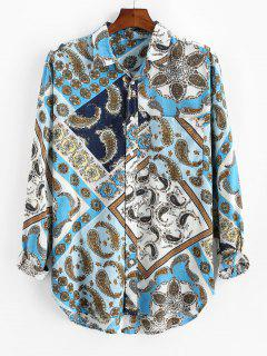 Paisley Scarf Print Button Up Pocket Shirt - Blue 3xl