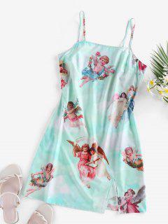 ZAFUL Slit Angel Renaissance Print Mini Dress - Light Slate M