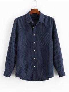 Pinstripe Print Button Up Pocket Shirt - Deep Blue L