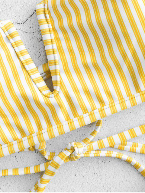 ladies ZAFUL V-wired Reversible Striped Bikini Set - RUBBER DUCKY YELLOW M Mobile