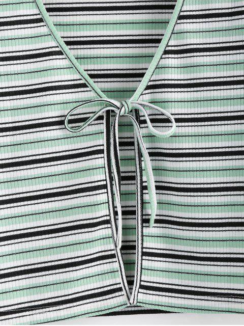 lady ZAFUL Striped Ribbed Tie Front Crop T-shirt - LIGHT GREEN M Mobile