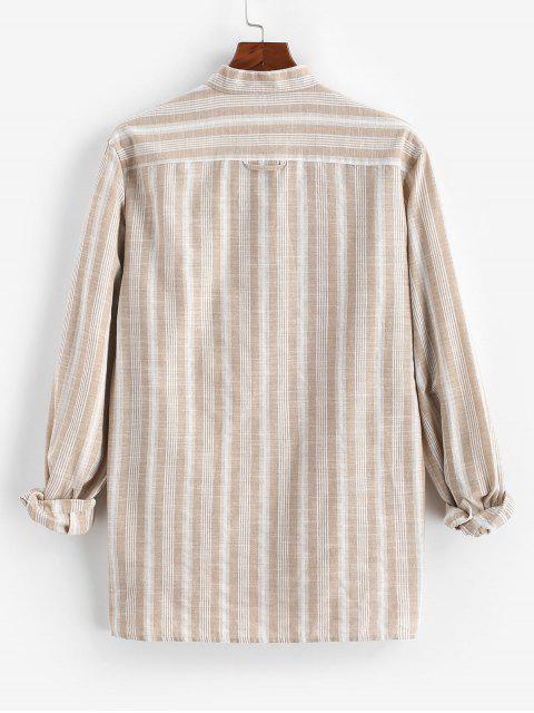 unique Button Up Striped Pocket Shirt - LIGHT COFFEE XL Mobile