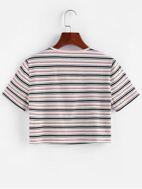 new ZAFUL Striped Ribbed Tie Front Crop T-shirt - LIGHT PINK S Mobile