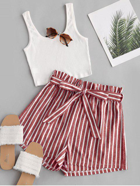 lady Ribbed Tank Top and Striped Print Paperbag Shorts Set - RED L Mobile