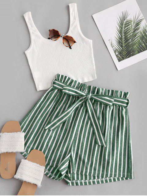 new Ribbed Tank Top and Striped Print Paperbag Shorts Set - GREEN M Mobile