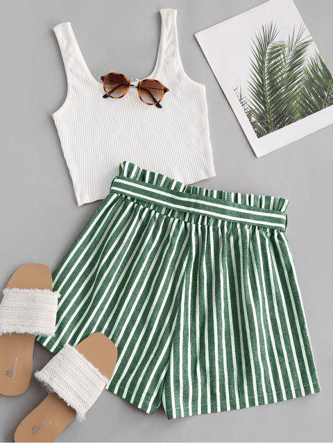 online Ribbed Tank Top and Striped Print Paperbag Shorts Set - GREEN S Mobile