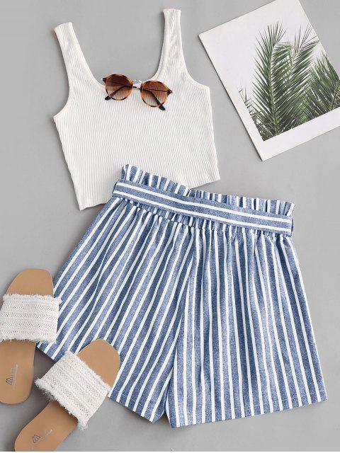 Geripptes Tank Top und Streifen Papiertüte Shorts Set - Hellblau M Mobile