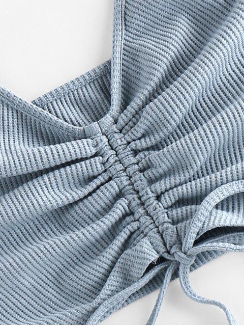 ZAFUL Zweiteilige Gerippte Volant Shorts Set - Blaugrau XL Mobile