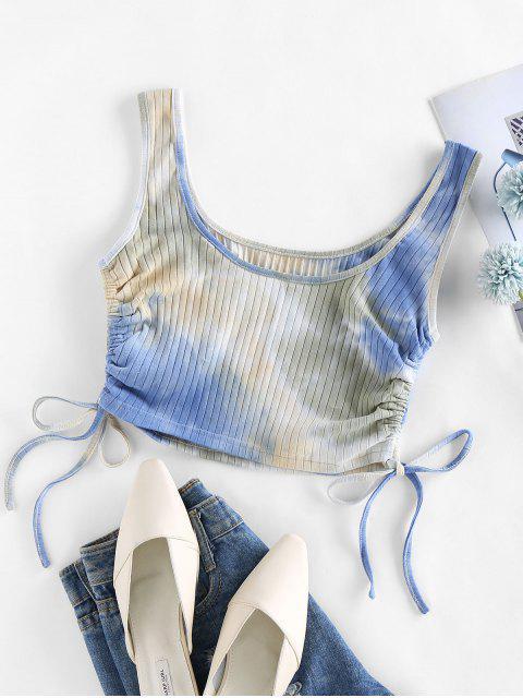 ZAFUL Regata da Colheita da Tintura do Laço Cortado - Azul claro M Mobile