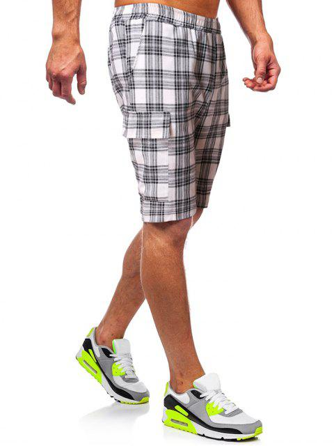 new Plaid Print Side Pockets Casual Shorts - WHITE S Mobile