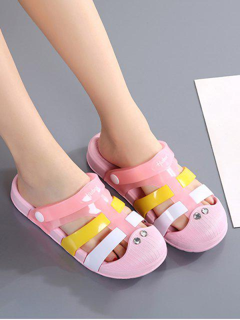 hot Colorblock Jelly Closed Toe Hole Slides - PINK EU 39 Mobile
