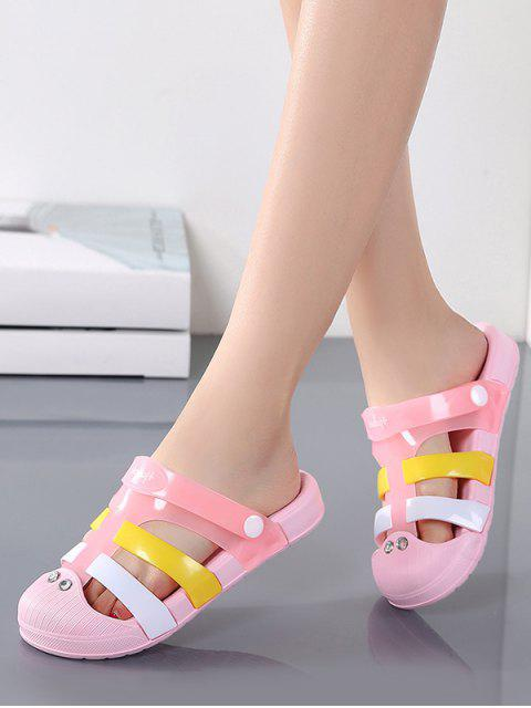 new Colorblock Jelly Closed Toe Hole Slides - PINK EU 38 Mobile