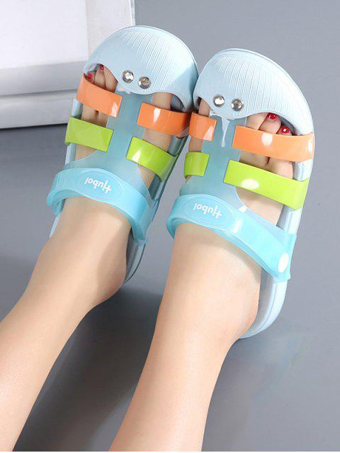 trendy Colorblock Jelly Closed Toe Hole Slides - LIGHT BLUE EU 41 Mobile