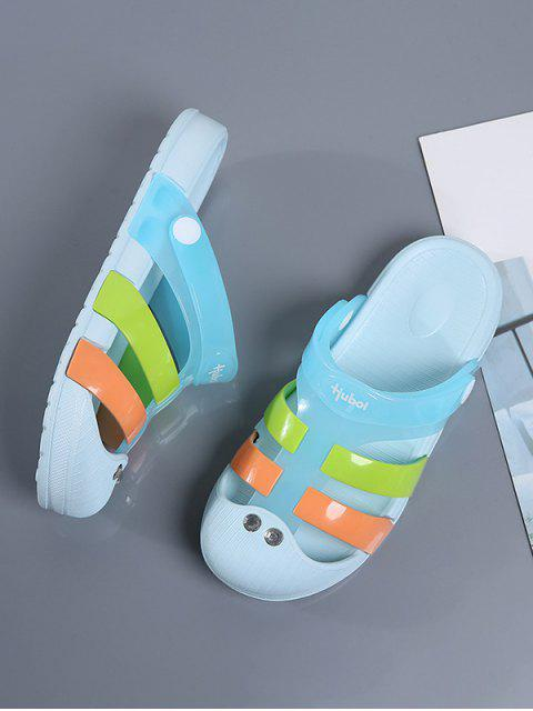 latest Colorblock Jelly Closed Toe Hole Slides - LIGHT BLUE EU 40 Mobile