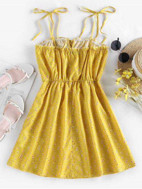 shop ZAFUL Tie Ditsy Print Sundress - YELLOW XL Mobile
