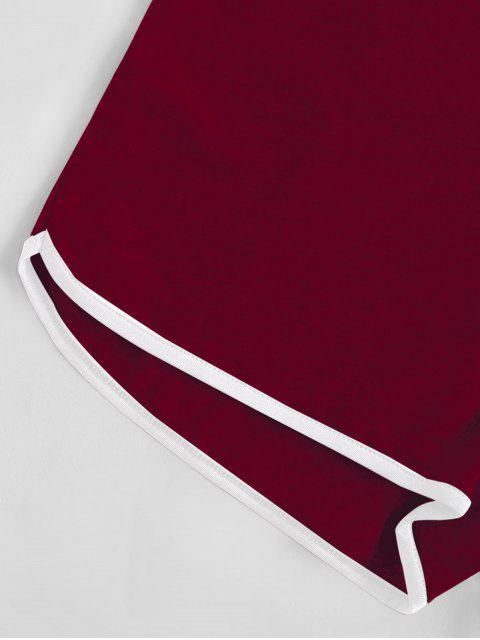 lady Halter Tie Back Ringer Romper - DEEP RED S Mobile