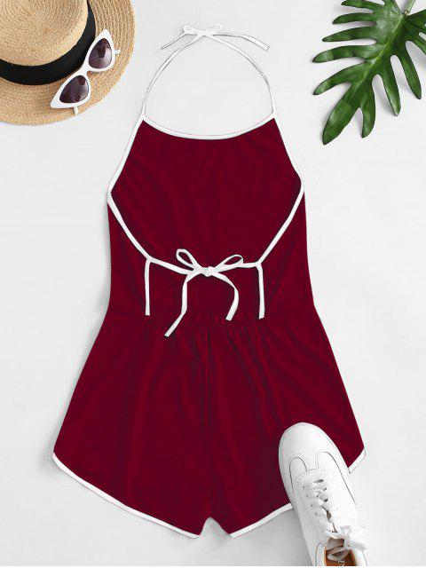 new Halter Tie Back Ringer Romper - DEEP RED XL Mobile