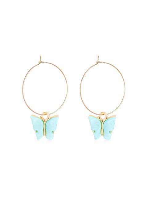 latest Acrylic Butterfly Pendant Hoop Earrings - SKY BLUE 5*3.5CM Mobile
