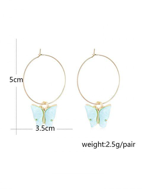 fashion Acrylic Butterfly Pendant Hoop Earrings - PIG PINK 5*3.5CM Mobile