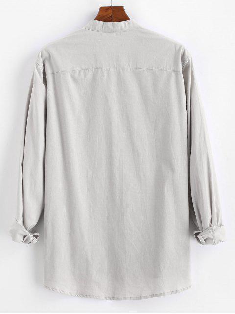 漫画猫印刷ボタン付きポケットシャツ - ライトグレー 2XL Mobile