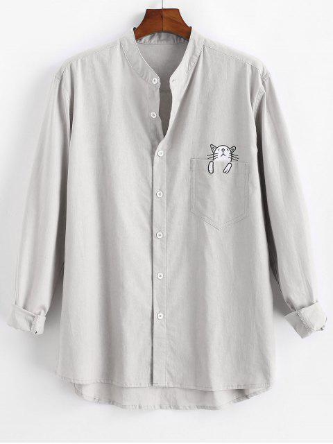 outfits Cartoon Cat Print Button Up Pocket Shirt - LIGHT GRAY 3XL Mobile