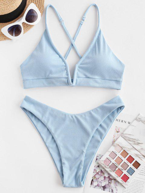 hot ZAFUL Ribbed V-wired High Cut Cross Bikini Swimwear - LIGHT BLUE S Mobile